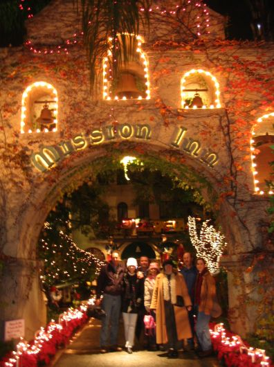 The gang at the entrance to the Mission Inn