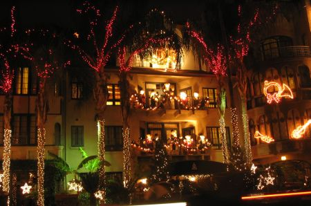 The Mission Inn was all lit up!