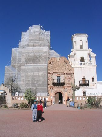 Donna & her grandfather in front of Mission San Javier del Bac, which is under renovation